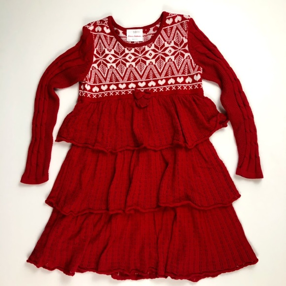 4071644109 Hanna Andersson 110 5 Red Tiered Sweater Dress